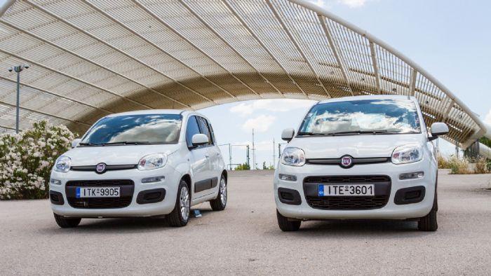 Τα δύο αυτοκίνητα «λιάζονται» στον ήλιο. Αριστερά το Fiat Panda στο οποίο έχουμε τοποθετήσει μεμβράνες στην εταιρεία Ζαμπάτης.