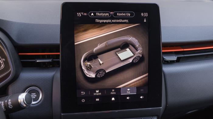 Τα κουμπιά EV και ECO, καθώς η οθόνη με τη ροή της ενέργειας είναι στοιχεία που συναντάς στην υβριδική έκδοση του Clio.