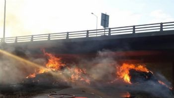 Ζημιές στην Εγνατία Οδό λόγω φωτιάς (+vid)
